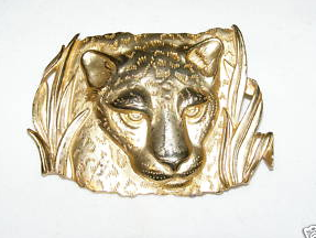 P JJ lioness brooch signed dated 86