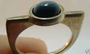 Modernist cats eye sterling silver ring vintage