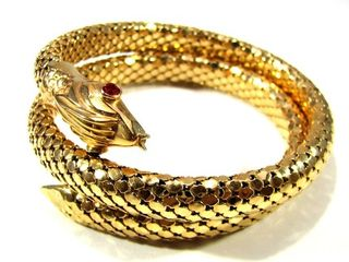 18k gold art deco snake in the garden of eden bracelet