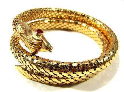 18k gold art deco snake in the garden of eden bracelet